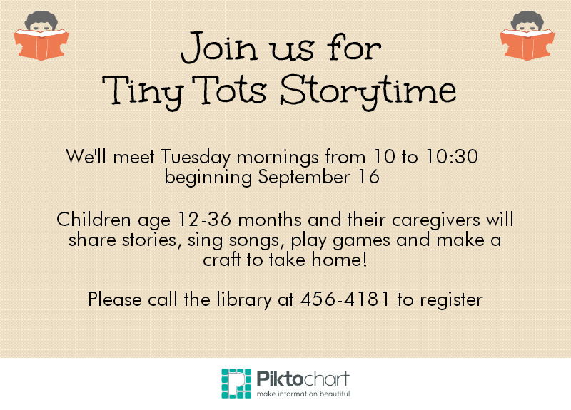 Tiny Tots Storytime starts September 16.